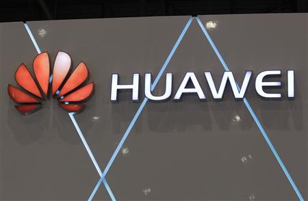 File photo of a Huawei logo pictured at the ITU Telecom World in Geneva