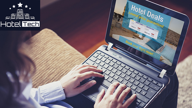 Woman searching a hotel for vacation. Booking template designed