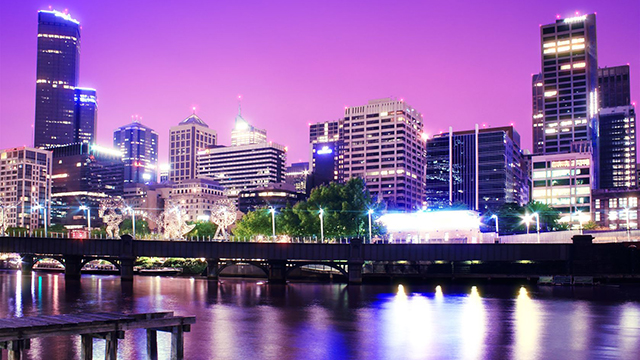 13498950 - night urban city skyline. melbourne. australia